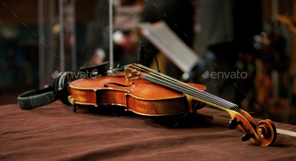 Violin in Music Studio with Headphones - Stock Photo - Images