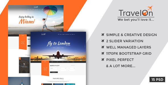 Travel On – Modern PSD Template for Travel Related Businesses
