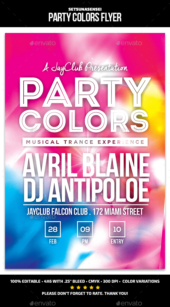 Party Colors Flyer - Clubs & Parties Events