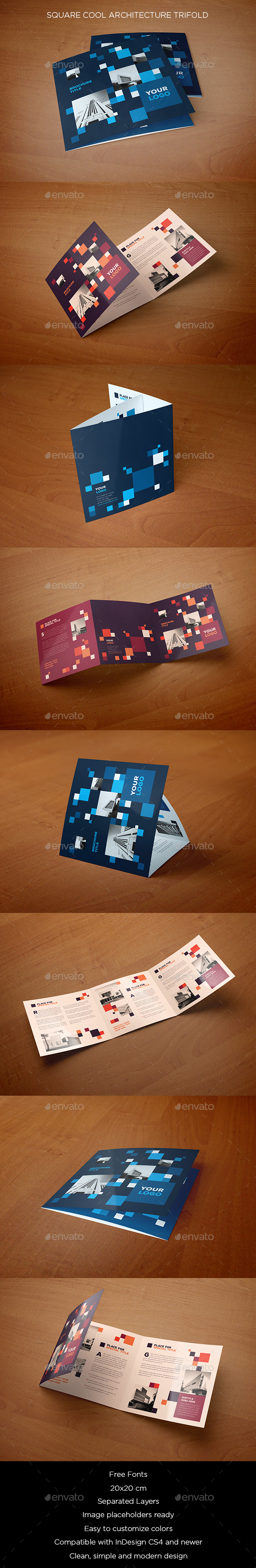 Square Cool Architecture Trifold - Brochures Print Templates