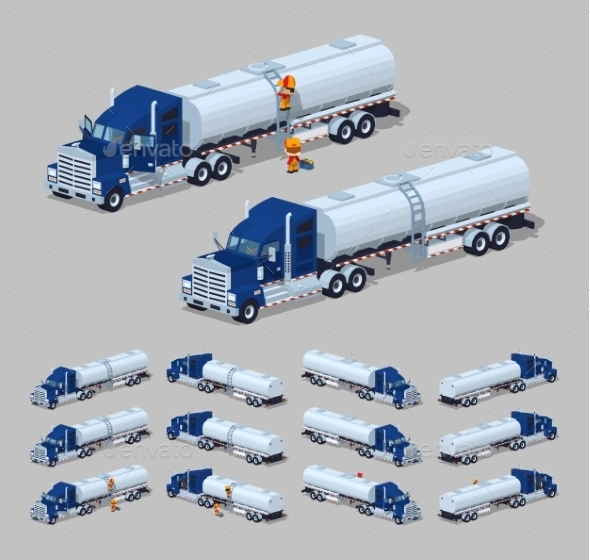 Dark Blue Heavy Truck with Silver Tank-Trailer - Man-made Objects Objects
