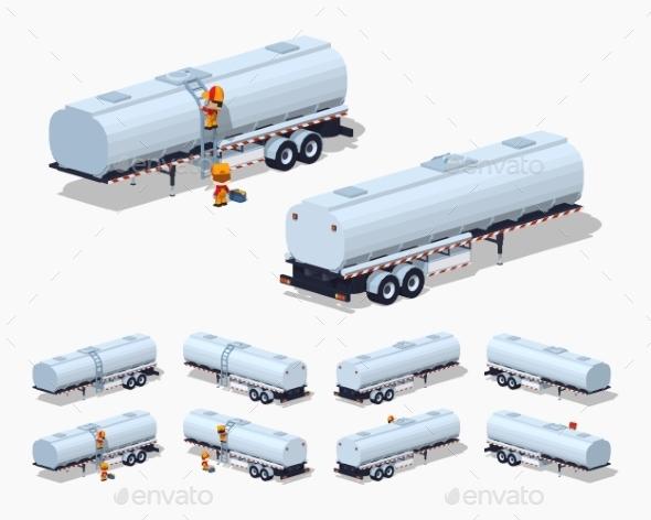 Silver Tank Trailer - Man-made Objects Objects