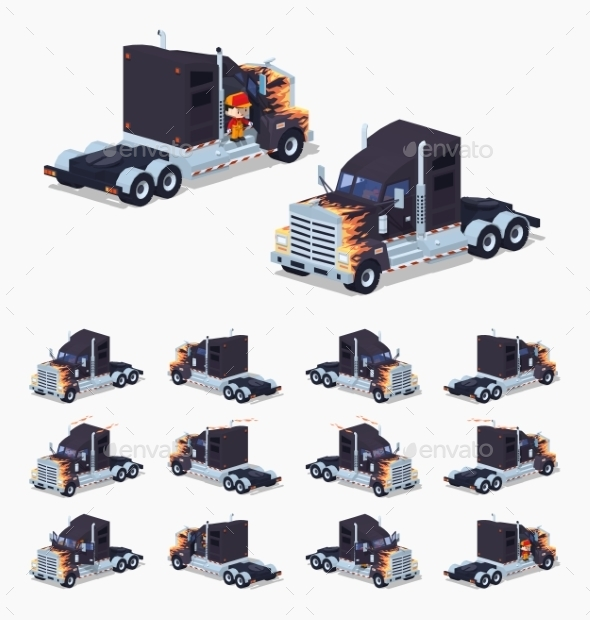 Black Heavy American Truck with a Fire Pattern - Man-made Objects Objects