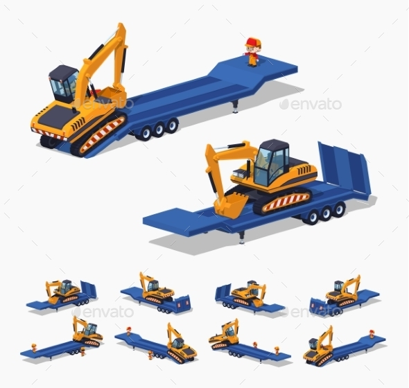 Yellow Excavator on the Blue Low-Bed Trailer - Man-made Objects Objects