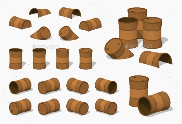 Old Rusty Barrels - Man-made Objects Objects