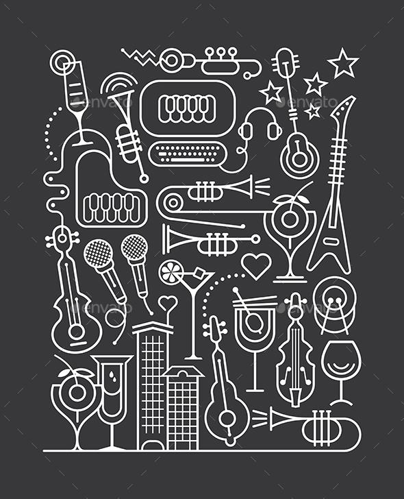 Music Party Art Line - Miscellaneous Vectors