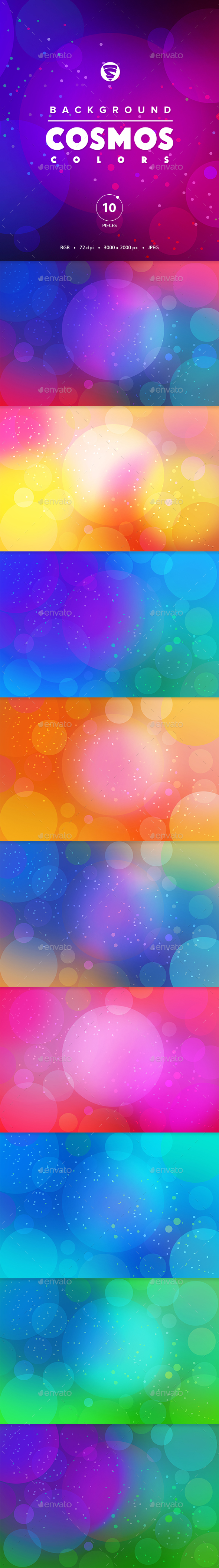 10 Backgrounds set Cosmos colors - Backgrounds Graphics