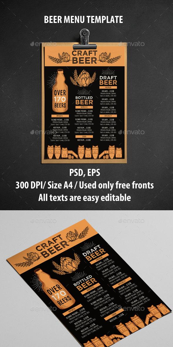 Menu Restaurant Template - Food Menus Print Templates
