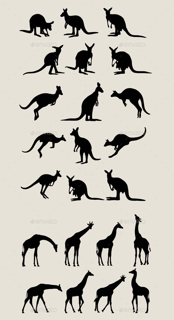 Kangaroo and Giraffe Silhouettes - Animals Characters