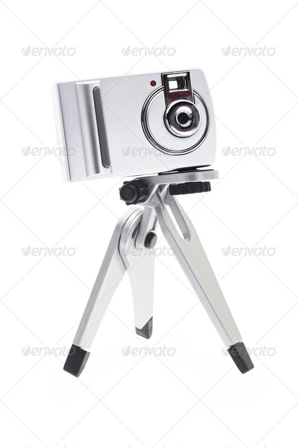 Digital camera for kids on tripod - Stock Photo - Images