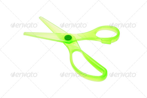 Green plastic scissors - Stock Photo - Images