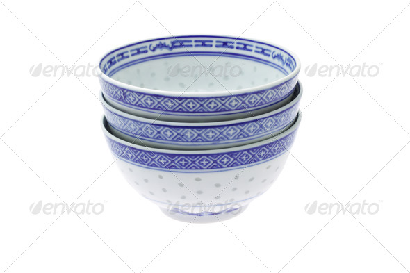 Chinese traditional rice bowls - Stock Photo - Images