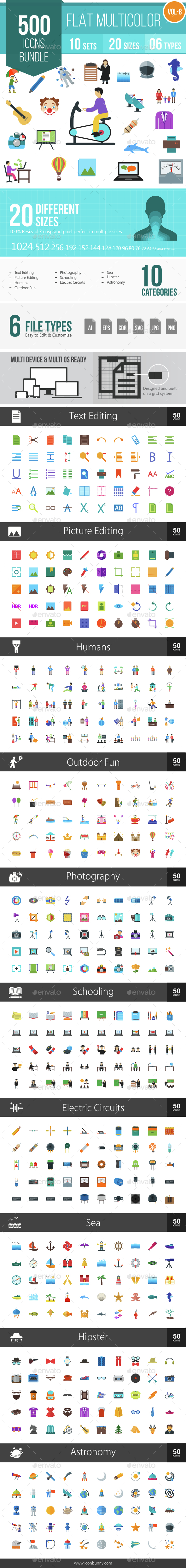 500 Vector Colorful Flat Icons Bundle (Vol-8) - Icons
