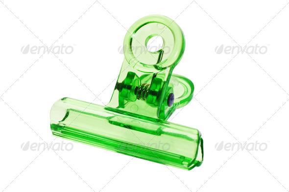 Green bulldog clip - Stock Photo - Images