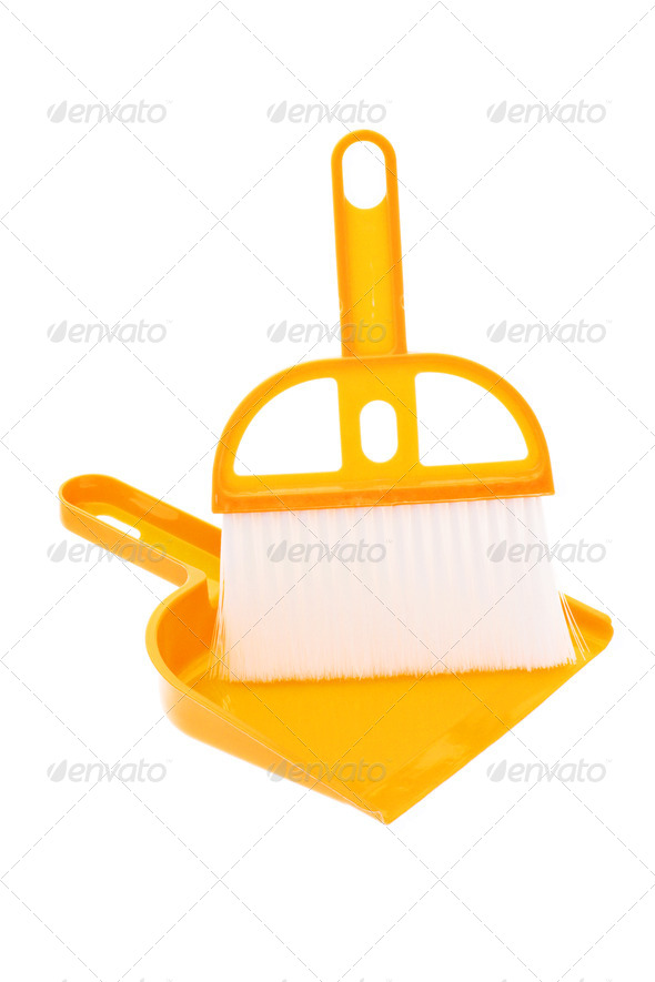 Plastic dust pan and brush in yellow - Stock Photo - Images