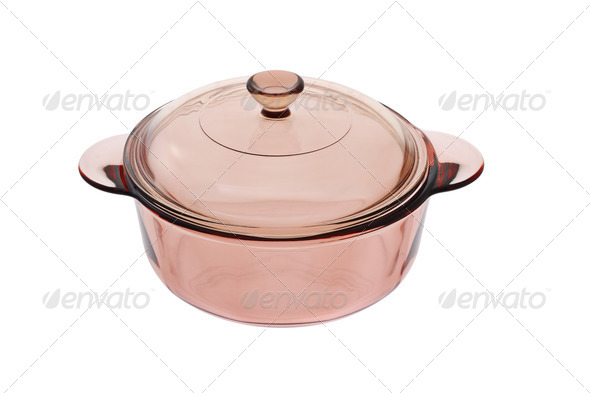 Glass saucepan with lid - Stock Photo - Images