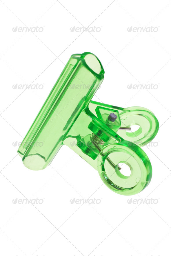 Green plastic paper clip - Stock Photo - Images
