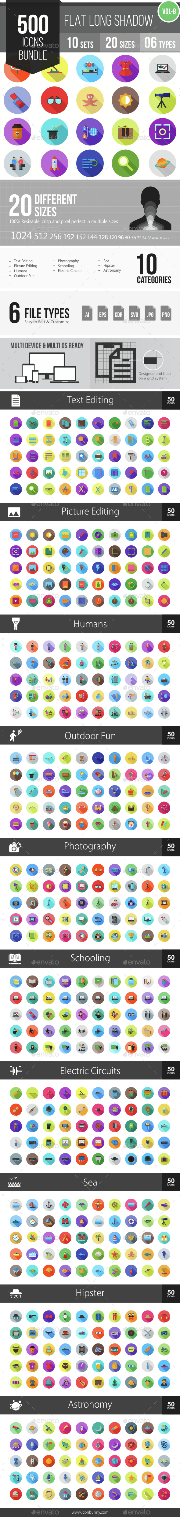 500 Vector Long Shadow Colorful Flat Icons Bundle (Vol-8) - Icons