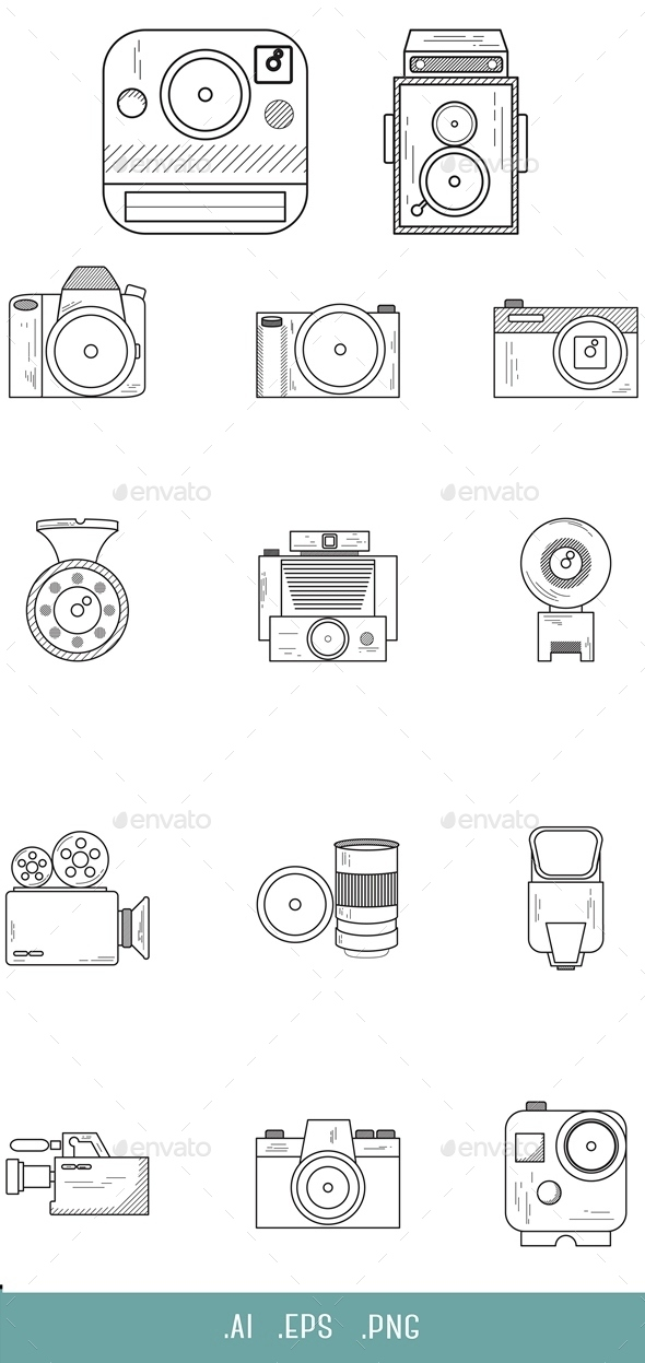 Camera Line Icon - Objects Icons