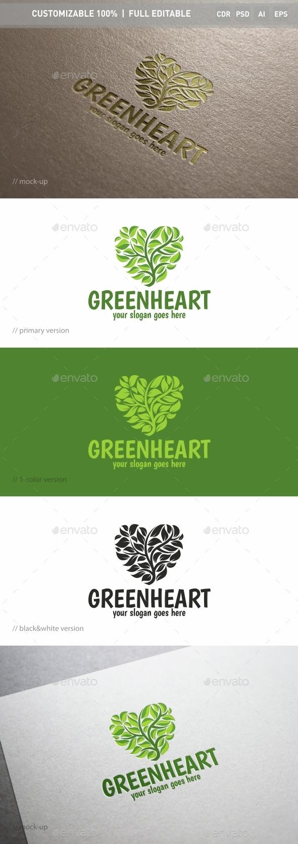 Green Heart Logo Template - Objects Logo Templates