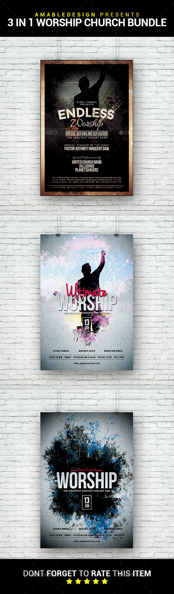 3 in 1 Worship Church Flyer/Poster Bundle - Clubs & Parties Events