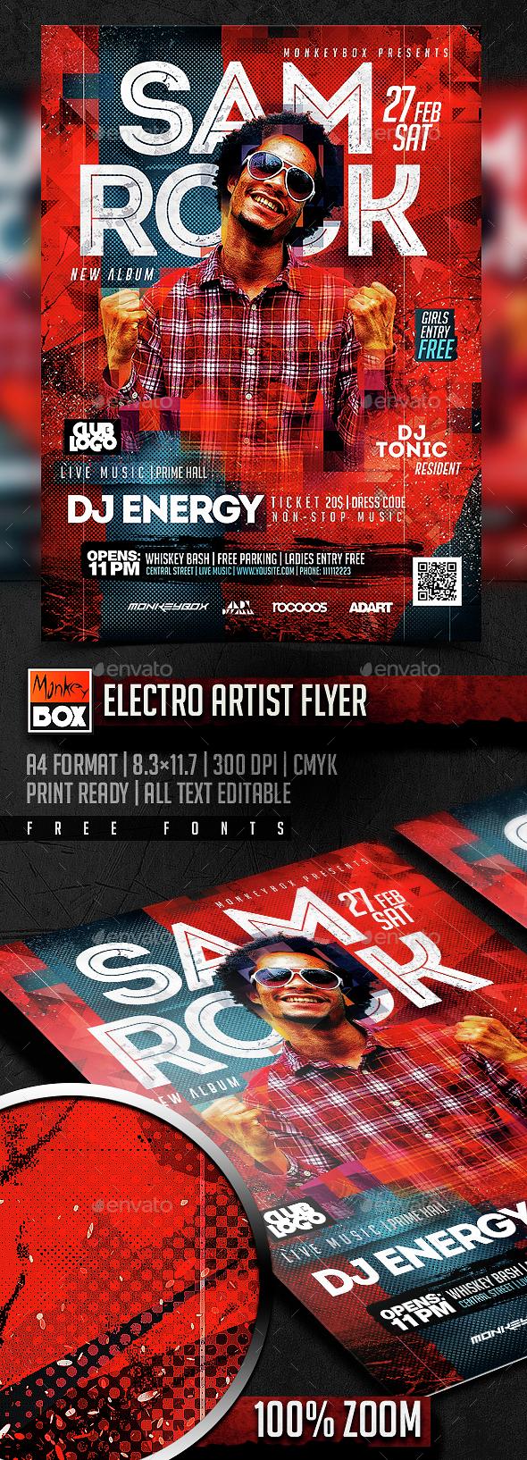 Electro Artist Flyer - Flyers Print Templates