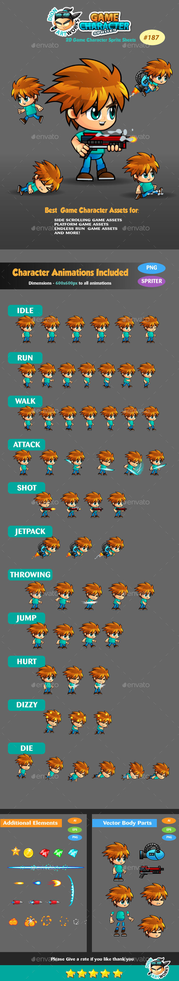 2D Game Character Sprite Sheets 187 - Sprites Game Assets