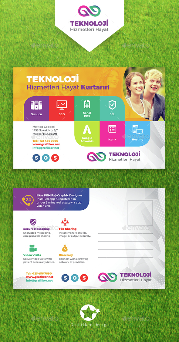 Technology Studio Postcard Templates - Cards & Invites Print Templates