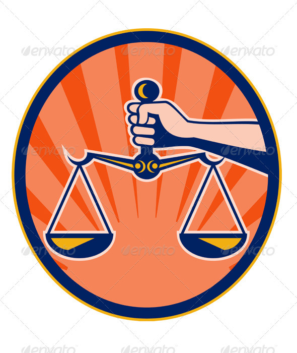 Hand Holding Scales of Justice Retro - Conceptual Vectors