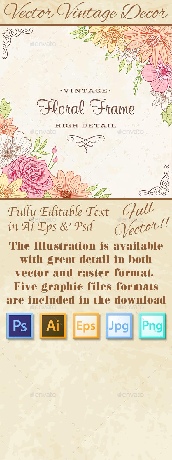 Vintage Flower Frame Corners - Flourishes / Swirls Decorative