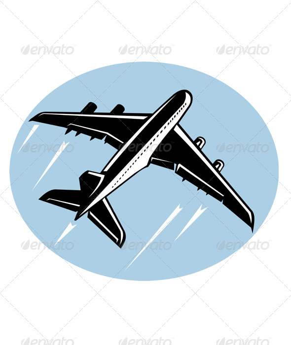 Jumbo Jet Plane Taking Off Retro Style - Travel Conceptual