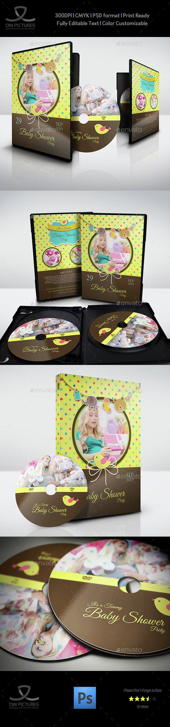 Baby Shower Party DVD Template Vol.6 - CD & DVD Artwork Print Templates
