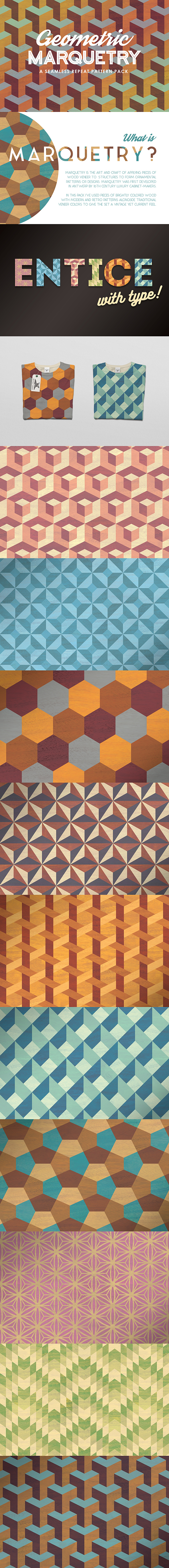Geometric Marquetry Patterns - Textures / Fills / Patterns Photoshop