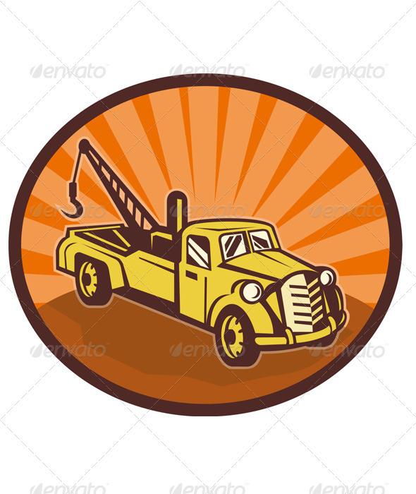 Tow Wrecker PickupTruck Retro  - Industries Business