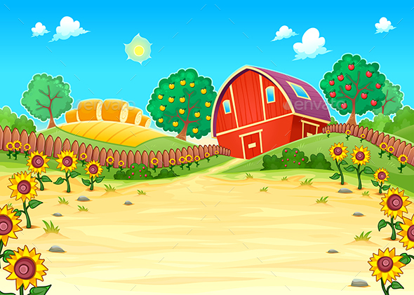 Funny Landscape with the Farm and Sunflowers - Landscapes Nature