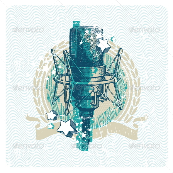 Musical Emblem With Hand Drawn Microphone - Technology Conceptual