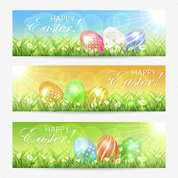 Easter Cards with Colored Eggs - Seasons/Holidays Conceptual
