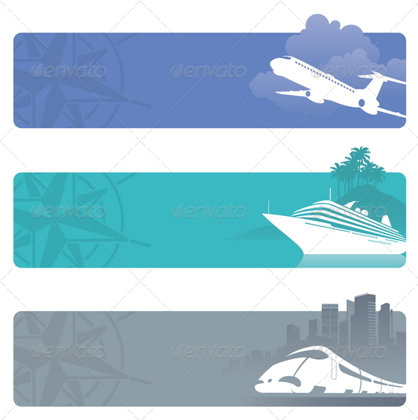 Travel Banners With Contemporary Transport - Travel Conceptual