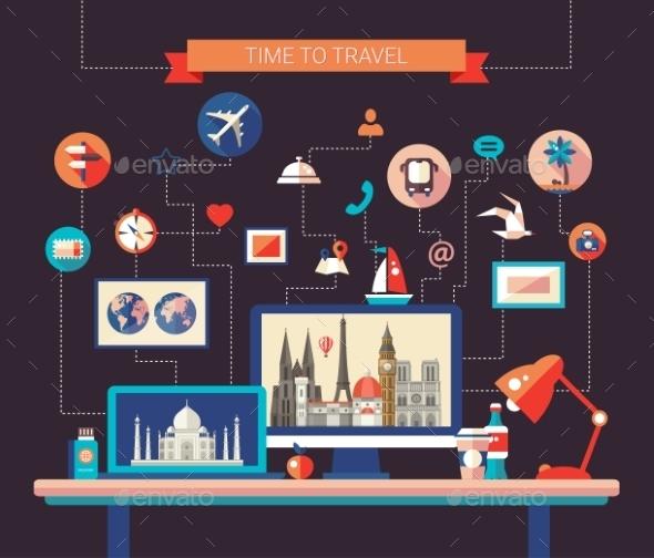 Flat Design Travel Composition - Travel Conceptual