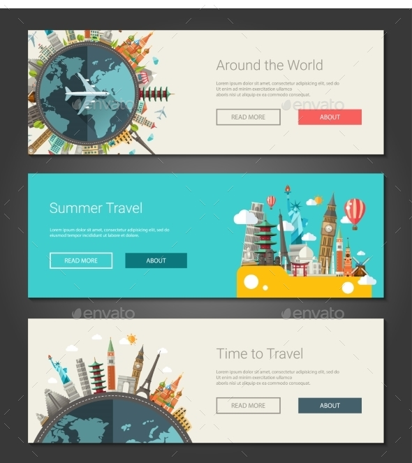 Flat Design Banners - Travel Conceptual