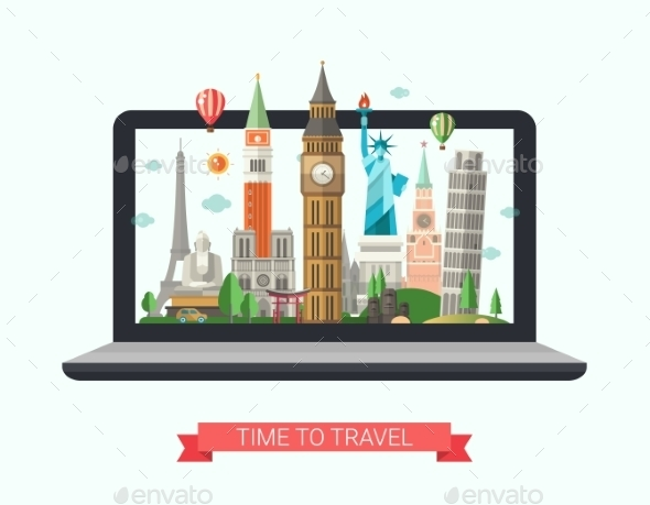 Flat Design Illustration with World Famous - Travel Conceptual