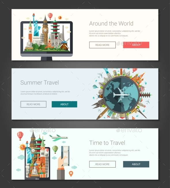 Flat Travel Design Banners - Travel Conceptual