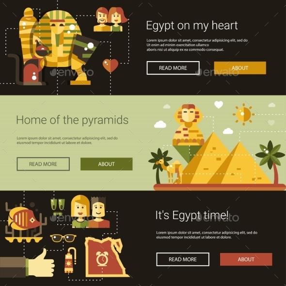 Flat Design Egypt Travel Banners Set - Travel Conceptual