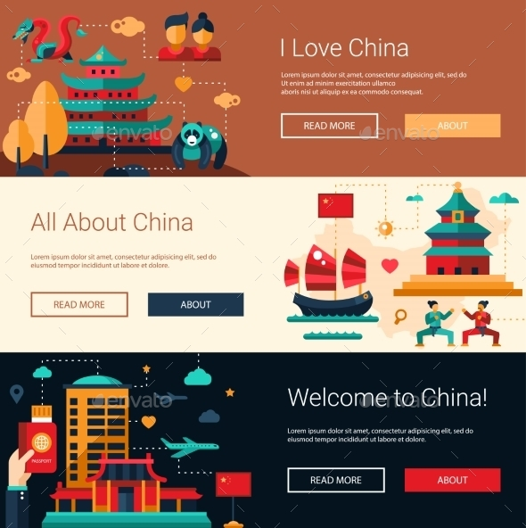 Flat Design China Travel Banners Set - Buildings Objects