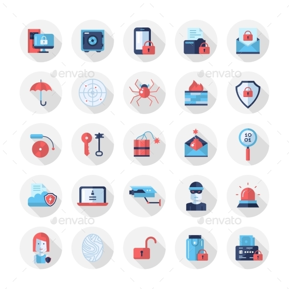Security, Protection Modern Flat Design Icons - Computers Technology