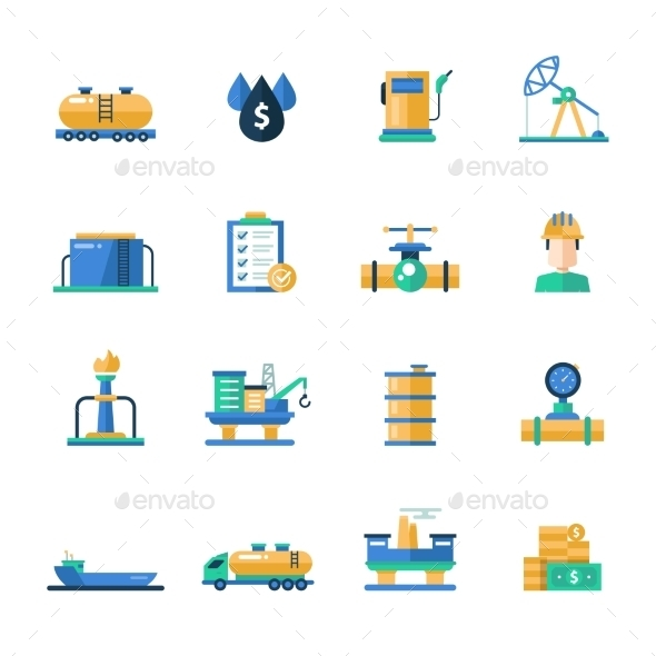 Oil and Gas Industry Modern Flat Design Icons - Industries Business