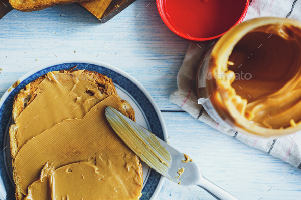Peanut butter sandwiches or toasts - Stock Photo - Images