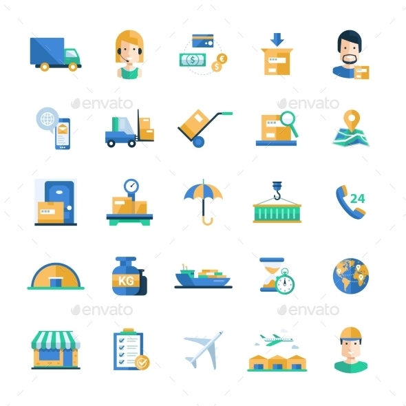 Delivery Service Modern Flat Design Icons - Industries Business