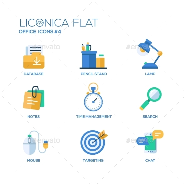 Set of Modern Office Flat Design Icons - Concepts Business