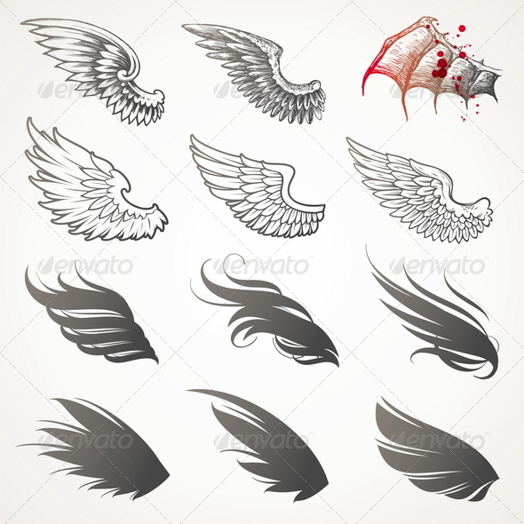 Vector Set of Decorative Wings - Decorative Vectors